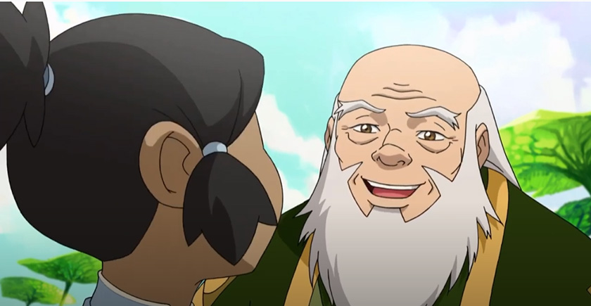 Uncle Iroh talks with Korra in spiritual world