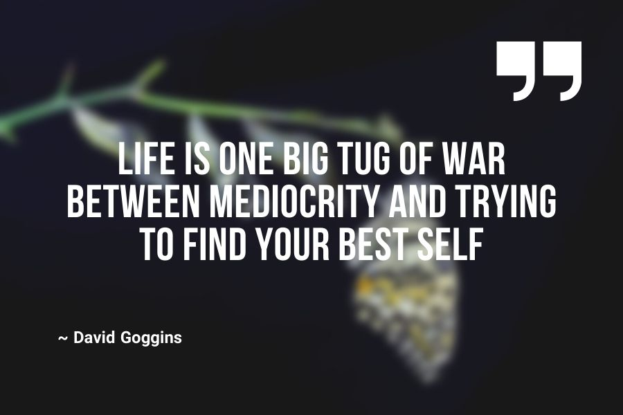 Life is one big tug of war between mediocrity and trying to find your best self