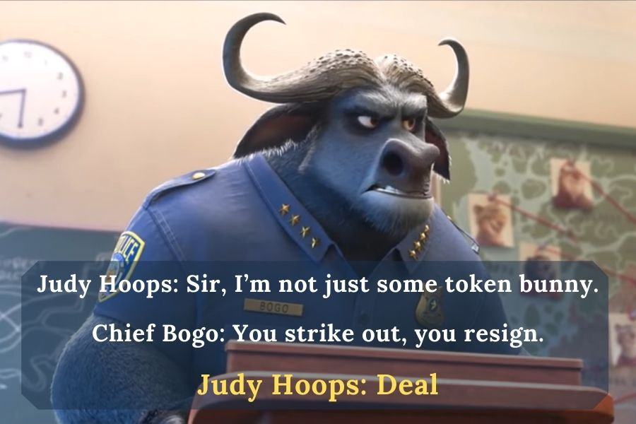 Judy and Chief Bogo are talking about deal