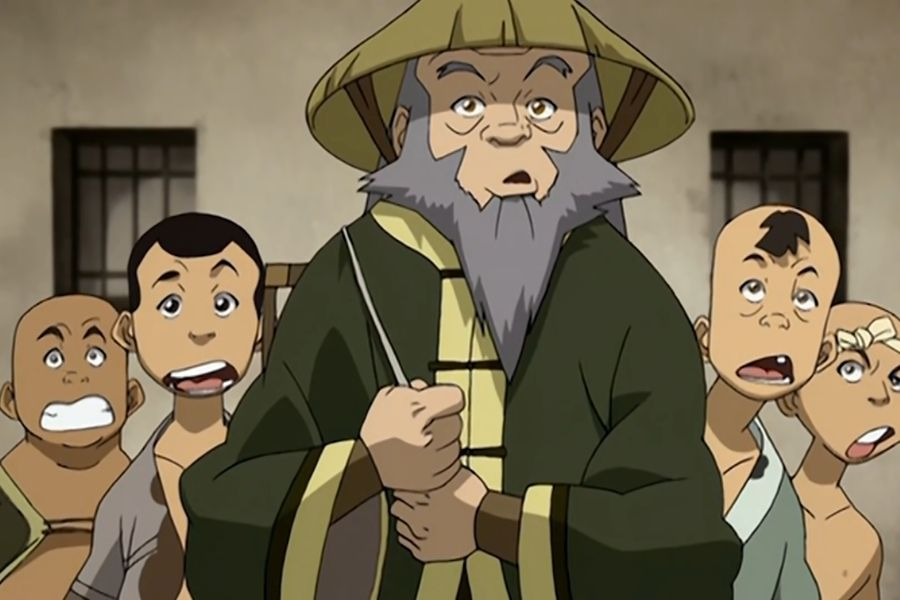 Uncle Iroh and children in the city