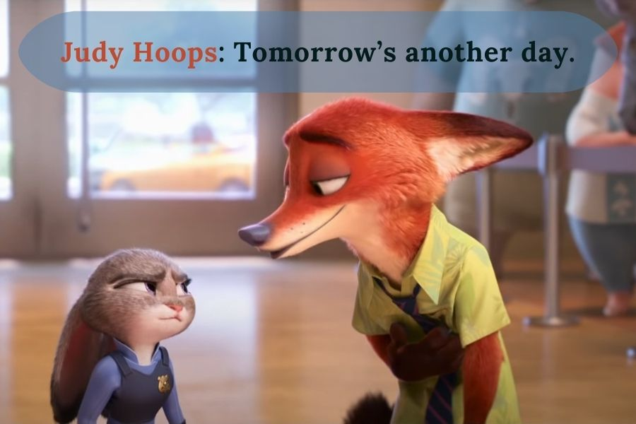 Judy and Nick talking about Tomorrow